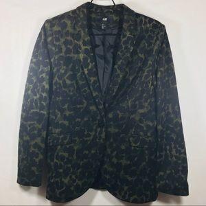 H&M Olive Cheetah Print Blazer